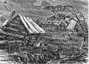 New Madrid Earthquake - Woodcut Depiction