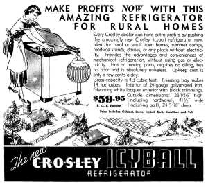 Ad Encouraging Crosley Dealers to Promote the IcyBall for Rural Homes and Businesses (April 1935)